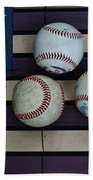 Baseballs On American Flag Folkart Hand Towel