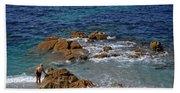 Bathing In The Sea - La Coruna Bath Towel