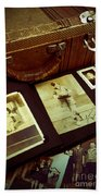 Battered Suitcase Of Antique Photographs Bath Towel
