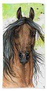 Bay Arabian Horse Watercolor Painting  Bath Towel