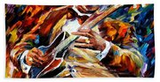 Bb King - Palette Knife Oil Painting On Canvas By Leonid Afremov Bath Towel