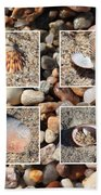 Beach Shells And Rocks Collage Bath Towel