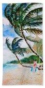 Beach With Palm Trees Bath Towel