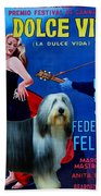 Bearded Collie Art Canvas Print - La Dolce Vita Movie Poster Bath Towel