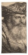 Bearded Man In A Velvet Cap With A Jewel Clasp Hand Towel