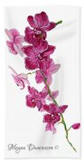 Beautiful Burgundy Orchid Flower Original Floral Painting Pink Orchid I By Megan Duncanson Madart Bath Towel
