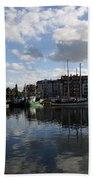 Beautiful Clouds Over Motlawa River - Gdansk Bath Towel