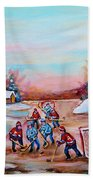 Beautiful Day For Pond Hockey Winter Landscape Painting  Bath Towel