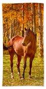 Beautiful Horse In The Autumn Aspen Colors Bath Towel