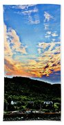 Beautiful Sky Over The Harbour Digital Painting Bath Towel