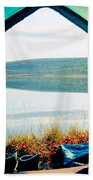 Beautiful View Of Calm Lake Looking Out Of Tent Bath Towel