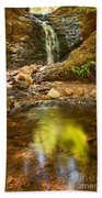 Beautiful View Of Upper Falls Located In Uvas Canyon County Park Forest Reflection Bath Towel