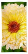 Beautiful Yellow Marigold Goldbloom Close Up  Bath Towel