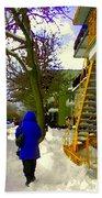 Beautiful Yellow Staircase Verdun Snow Scene Montreal Art Colors Of Quebec Carole Spandau Bath Towel