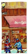 Beauty's Restaurant Paintings Of Plateau Montreal Winter Scenes Hockey Art Carole Spandau  Bath Towel