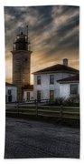Beavertail Lighthouse Sunset Bath Towel