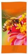 Bee Laden With Pollen Bath Towel