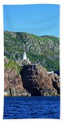 Behind Fort Amherst Rock By Barbara Griffin Bath Towel