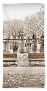 Benches By The Cemetery In Sepia Bath Towel