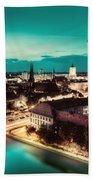 Berlin Germany Major Landmarks At Night Bath Towel