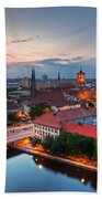 Berlin Germany Major Landmarks At Sunset Bath Towel