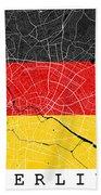 Berlin Street Map - Berlin Germany Road Map Art On German Flag Background Bath Towel
