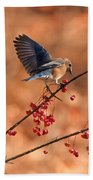 Berry Picking Bluebird Bath Towel