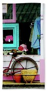 Bicycle By Antique Shop Bath Towel