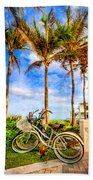 Bicycles Under The Palms Bath Towel