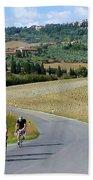 Bicycling In Tuscany Bath Towel