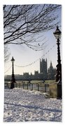 Big Ben Westminster Abbey And Houses Of Parliament In The Snow Bath Towel