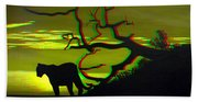 Big Cat Silhouette -  Use Red-cyan 3d Glasses Bath Towel