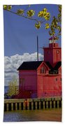 Big Red Lighthouse By Holland Michigan No.0255 Bath Towel