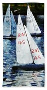 Big Sailors And Little Boats Bath Towel