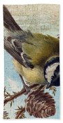 Bird And Pine Branch Bath Towel