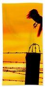 Bird Flying Off From Prison Fence Bath Towel