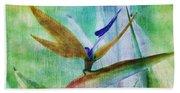 Bird Of Paradise Watercolor Bath Towel