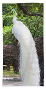 Bird - White Peacock Pose- Luther Fine Art Bath Towel