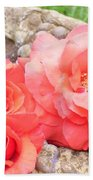 Birdbath Roses Bath Towel