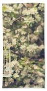 Birdcage In Blossom Bath Towel