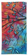 Birds And Blossoms By Madart Bath Towel