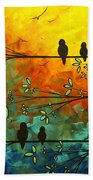 Birds Of A Feather Original Whimsical Painting Bath Towel