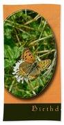 Birthday Greeting Card - American Copper Butterfly Bath Towel