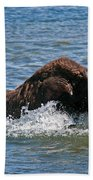 Bison Calf Running After Mama In Yellowstone National Park Bath Towel