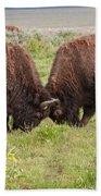 Bison Fight In Grand Teton National Park Bath Towel