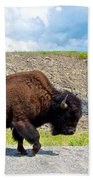 Bison Plodding Along On Alaska Highway-bc-canada Bath Towel