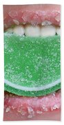 Biting Into Candy Lime Bath Towel