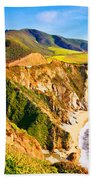 Bixby Creek Bridge Oil On Canvas Bath Towel