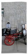 Black And Red Horse Carriage - Vienna Austria  Bath Towel