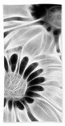 Black And White Florals Bath Towel